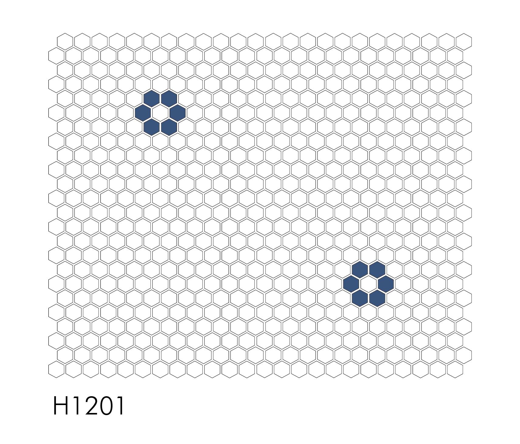 "H1201 Single Rosette 1"" Hexagon Mosaic"