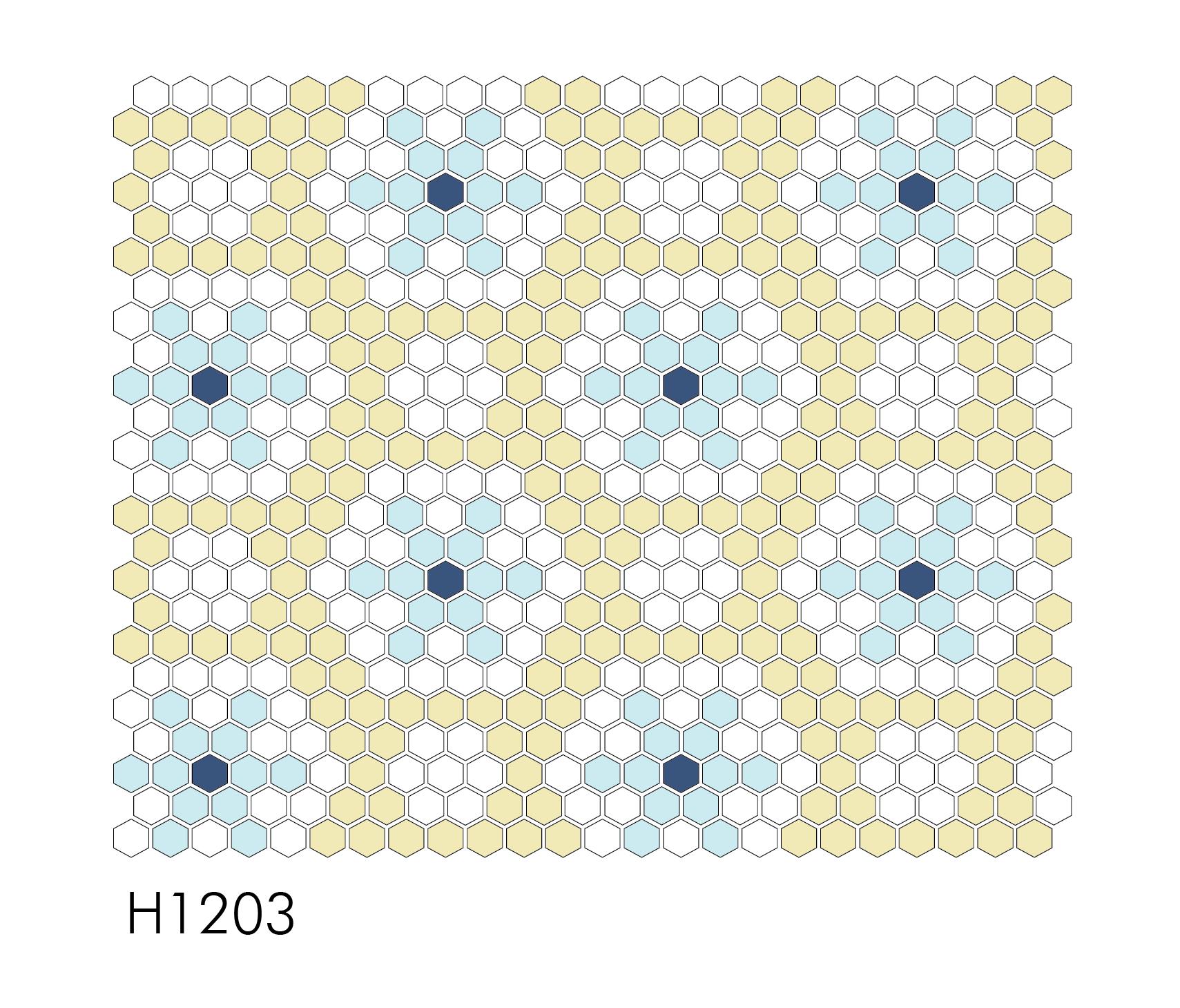 "H1203 Falling Snow 1"" Hexagon"