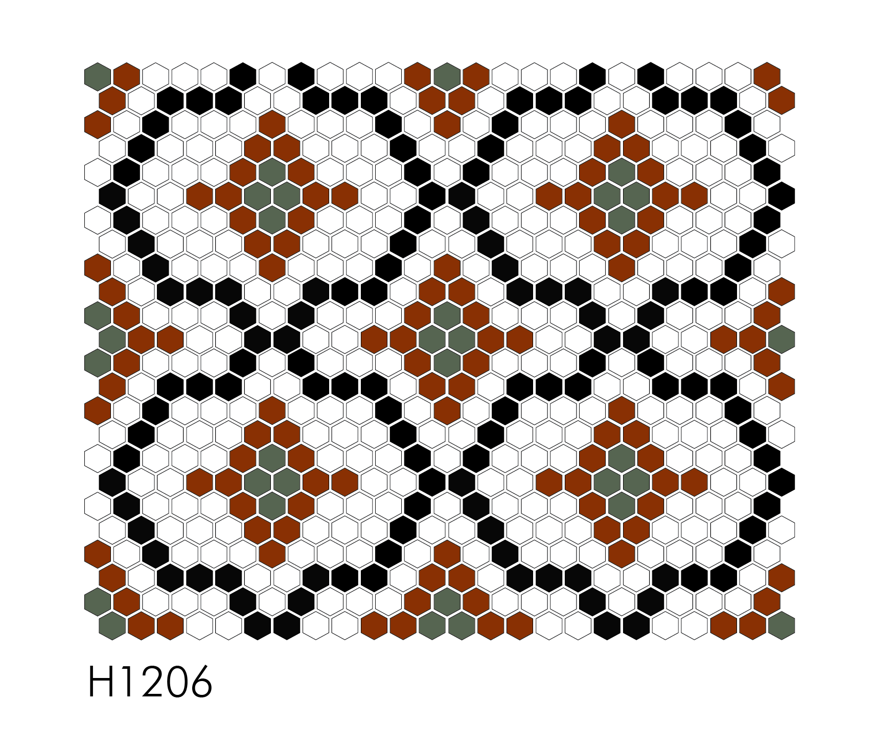 "H1206 1"" Hexagon Mosaic"